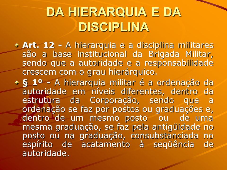 DA HIERARQUIA E DA DISCIPLINA