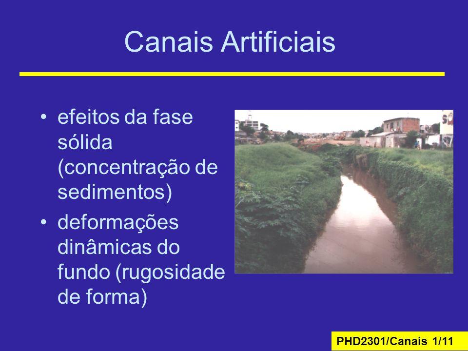 Canais Artificiais efeitos da fase sólida (concentração de sedimentos)