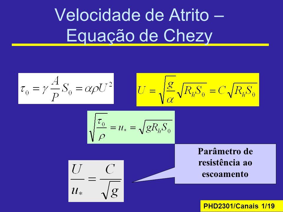 Velocidade de Atrito – Equação de Chezy