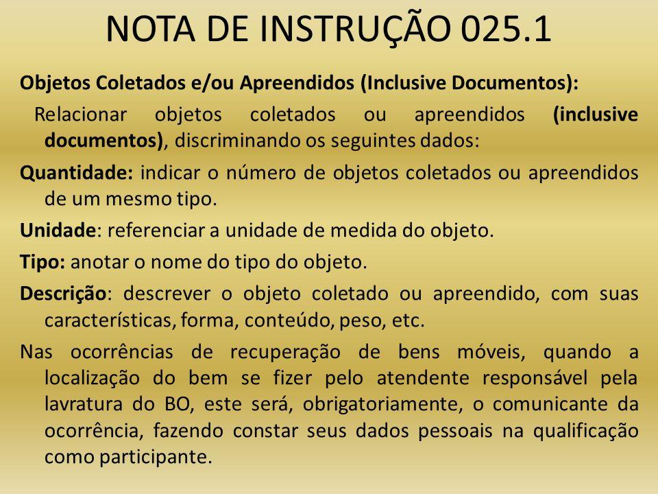 NOTA DE INSTRUÇÃO 025.1
