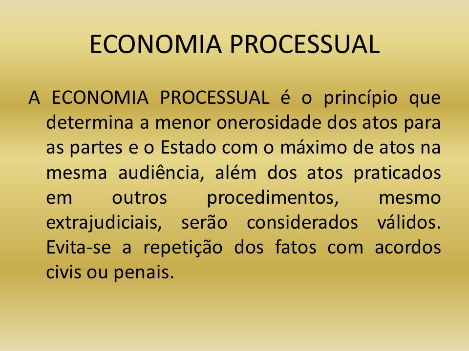 ECONOMIA PROCESSUAL
