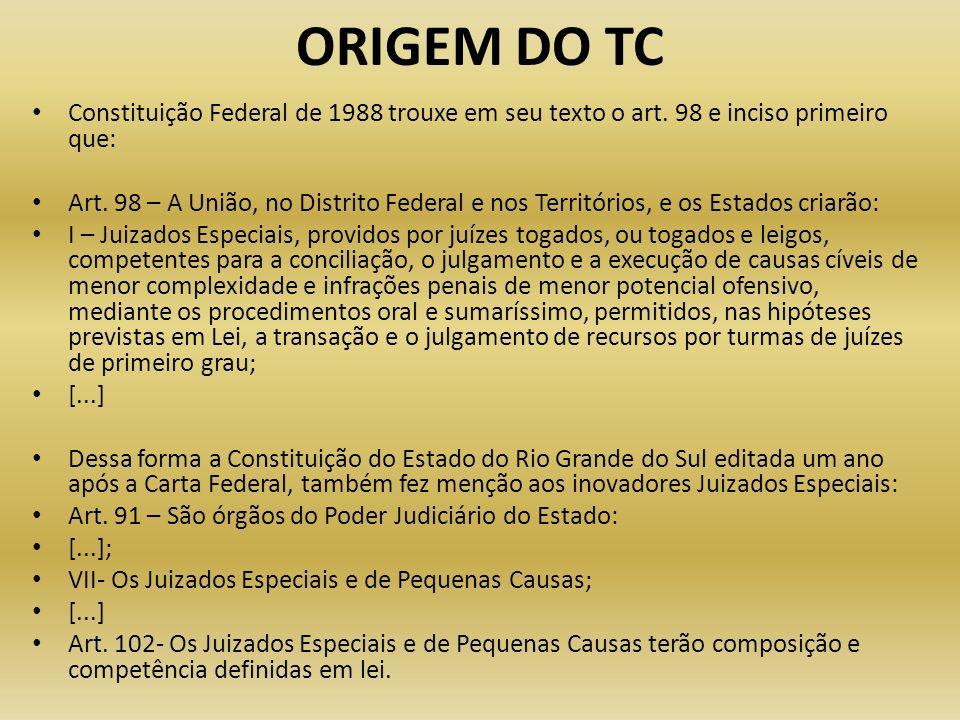 ORIGEM DO TC Constituição Federal de 1988 trouxe em seu texto o art. 98 e inciso primeiro que: