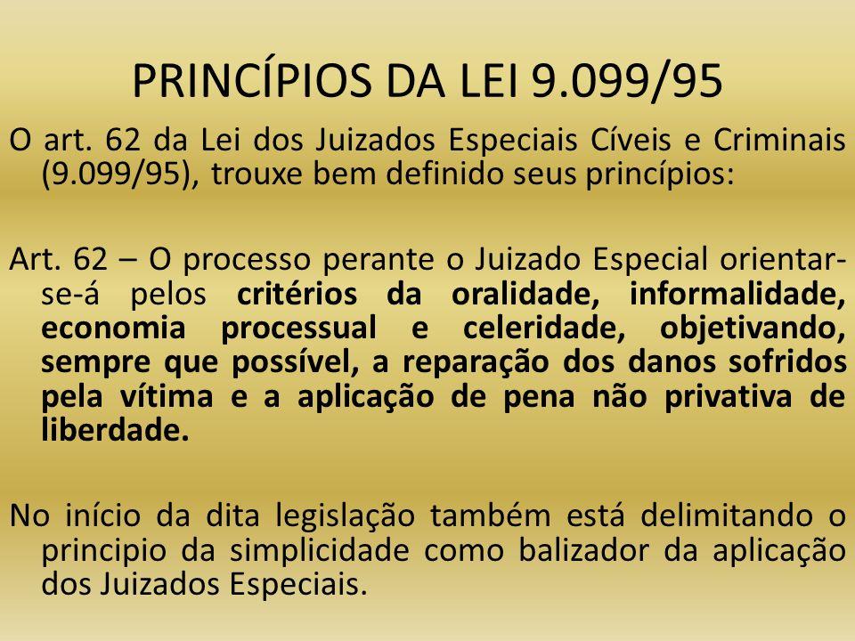 PRINCÍPIOS DA LEI 9.099/95 O art. 62 da Lei dos Juizados Especiais Cíveis e Criminais (9.099/95), trouxe bem definido seus princípios: