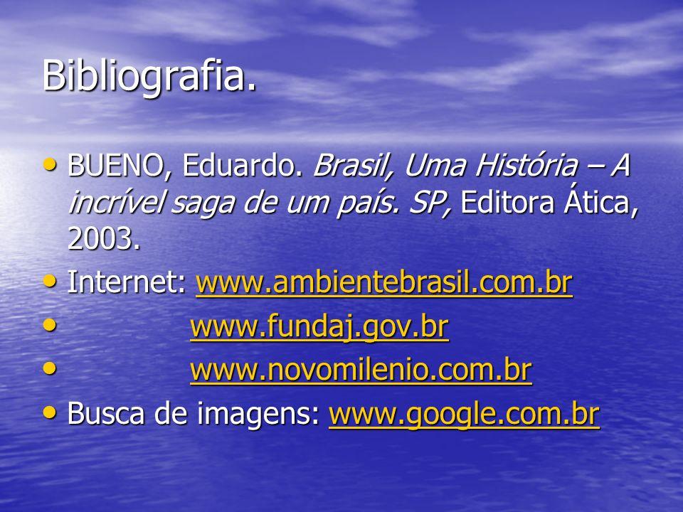 Bibliografia. BUENO, Eduardo. Brasil, Uma História – A incrível saga de um país. SP, Editora Ática, 2003.