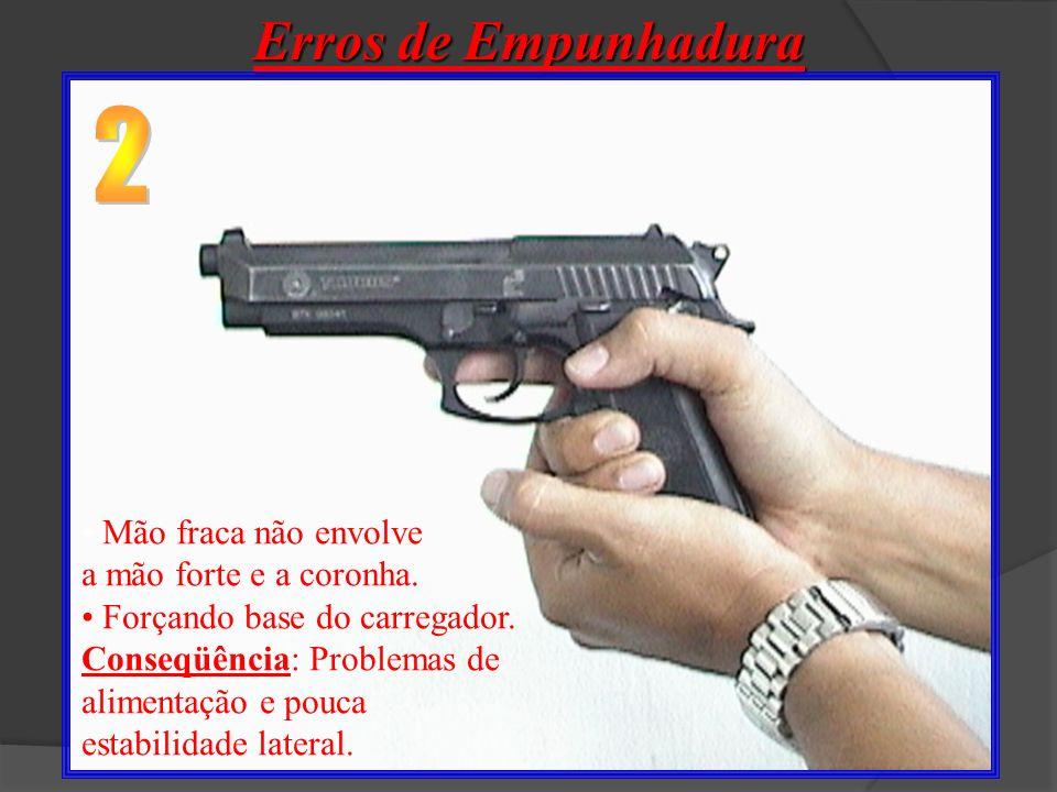 Erros de Empunhadura 2 Mão fraca não envolve a mão forte e a coronha.