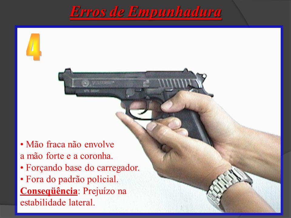 Erros de Empunhadura 4 Mão fraca não envolve a mão forte e a coronha.