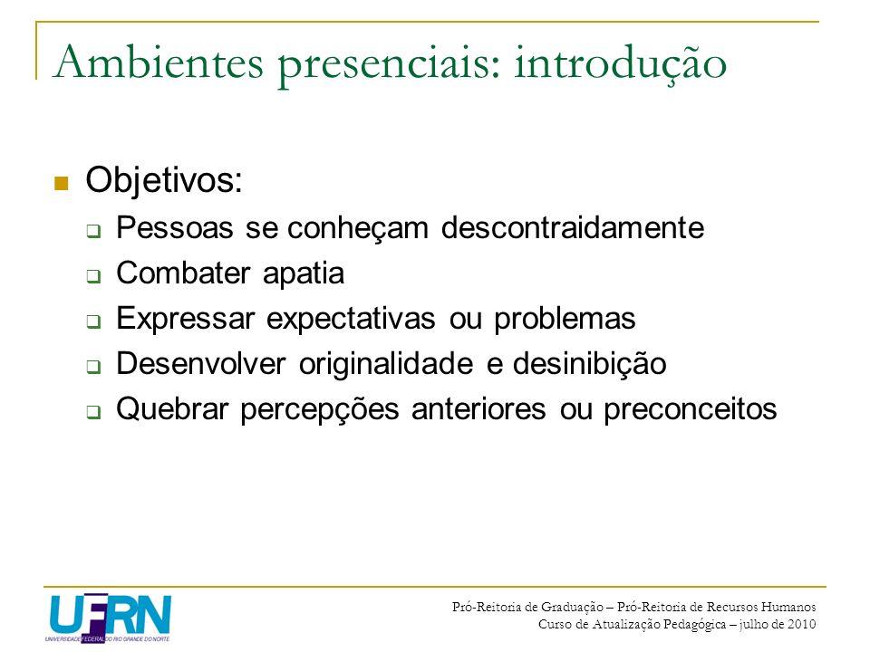 Ambientes presenciais: introdução