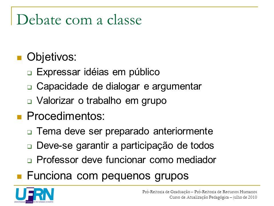 Debate com a classe Objetivos: Procedimentos: