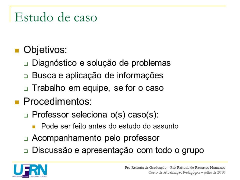 Estudo de caso Objetivos: Procedimentos: