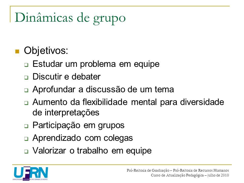 Dinâmicas de grupo Objetivos: Estudar um problema em equipe
