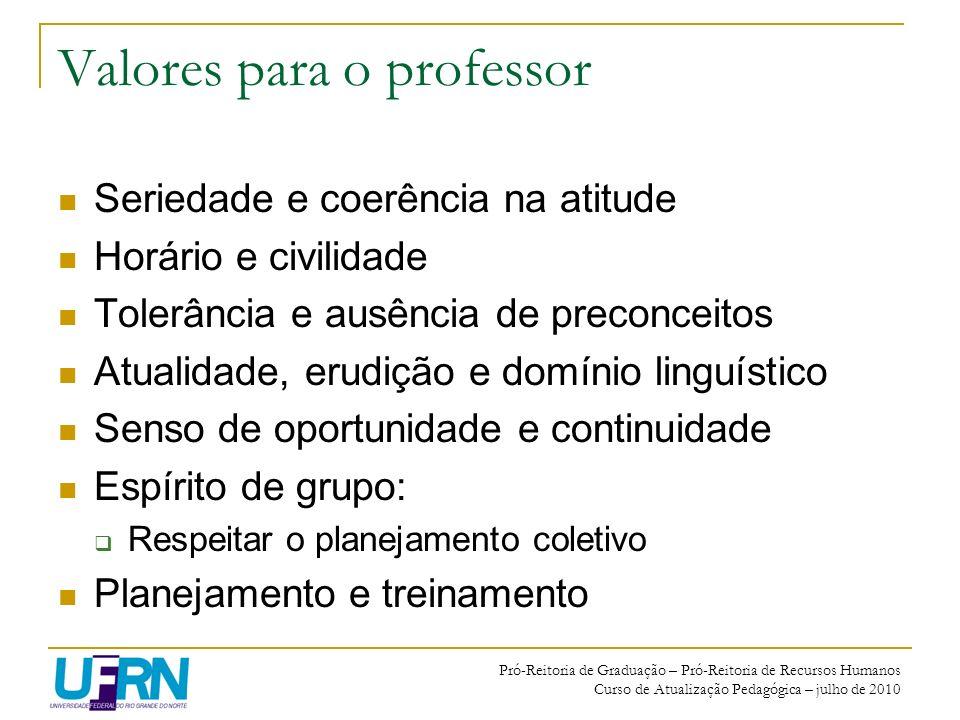 Valores para o professor
