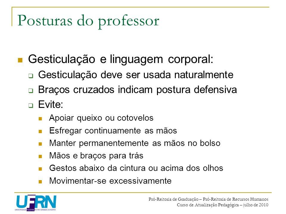 Posturas do professor Gesticulação e linguagem corporal: