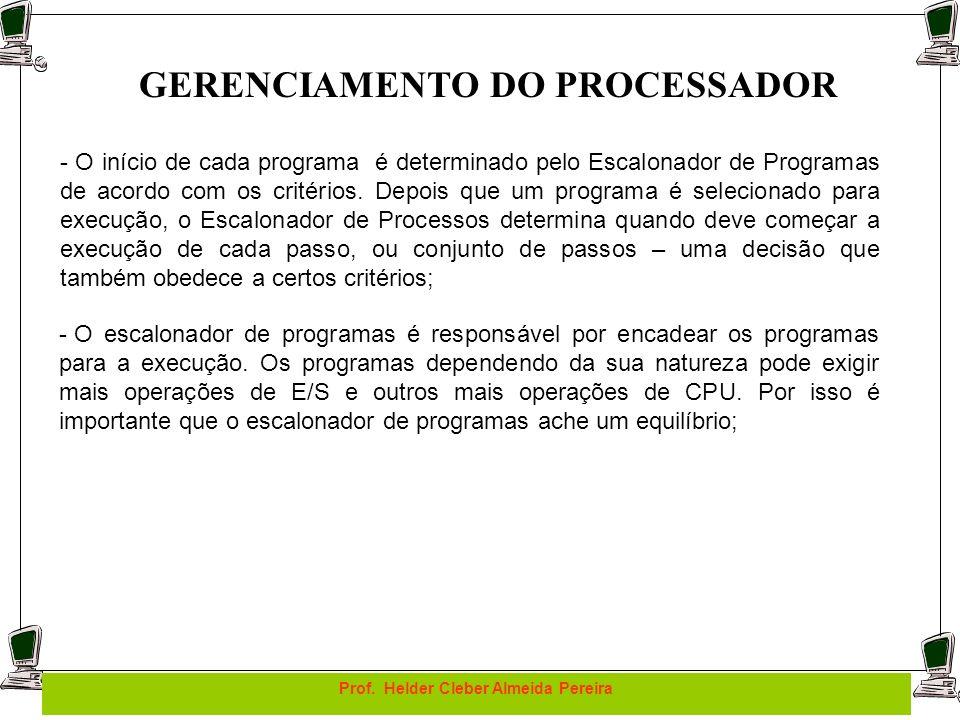 GERENCIAMENTO DO PROCESSADOR Prof. Helder Cleber Almeida Pereira