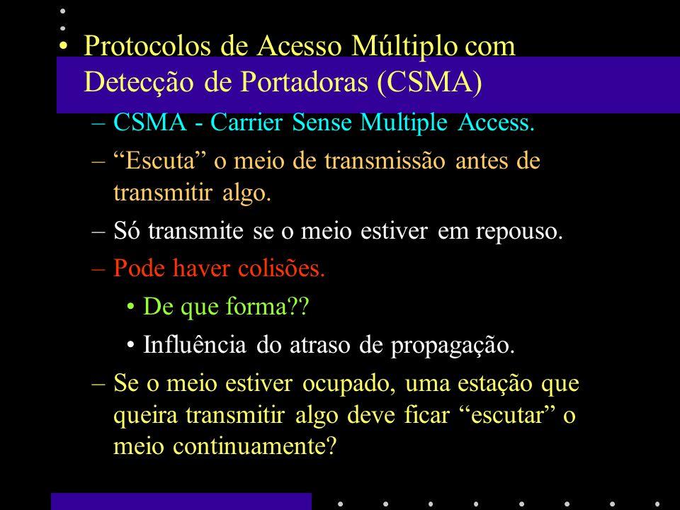 Protocolos de Acesso Múltiplo com Detecção de Portadoras (CSMA)