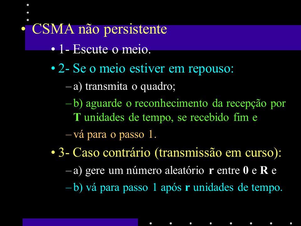 CSMA não persistente 1- Escute o meio.