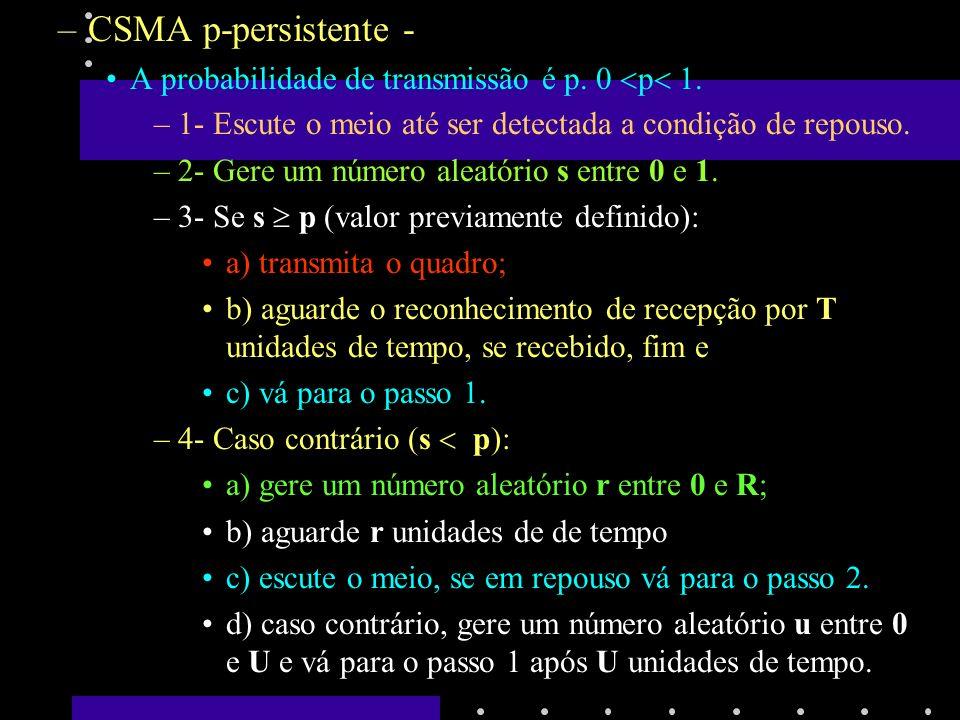 CSMA p-persistente - A probabilidade de transmissão é p. 0 p 1.