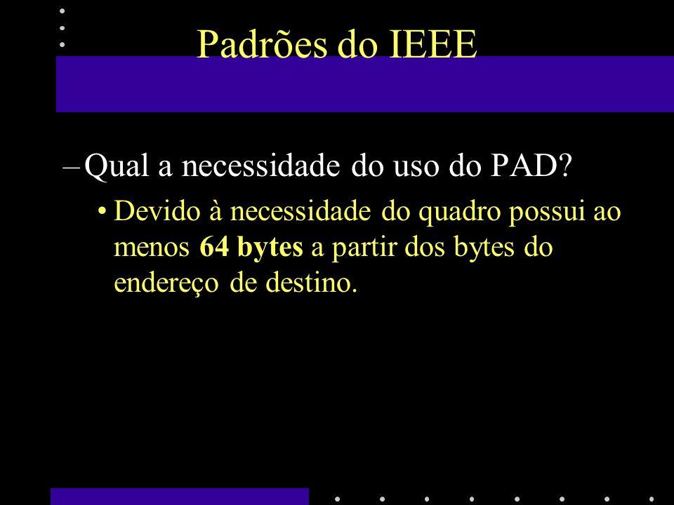 Padrões do IEEE Qual a necessidade do uso do PAD