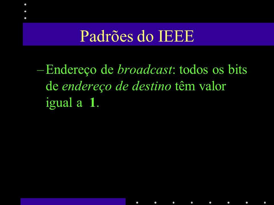 Padrões do IEEE Endereço de broadcast: todos os bits de endereço de destino têm valor igual a 1.