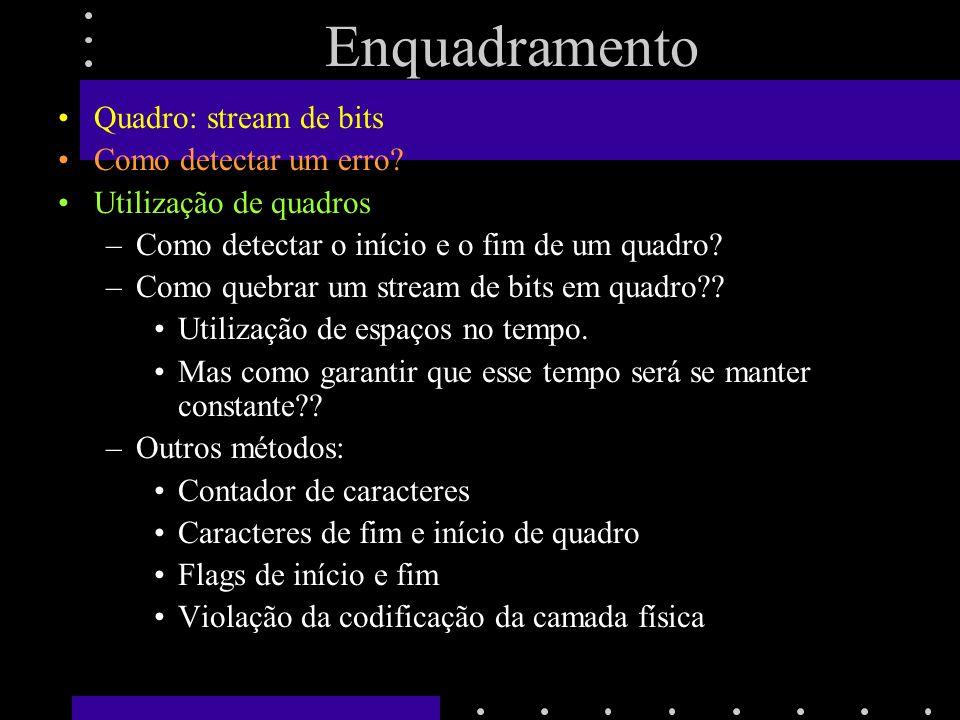 Enquadramento Quadro: stream de bits Como detectar um erro