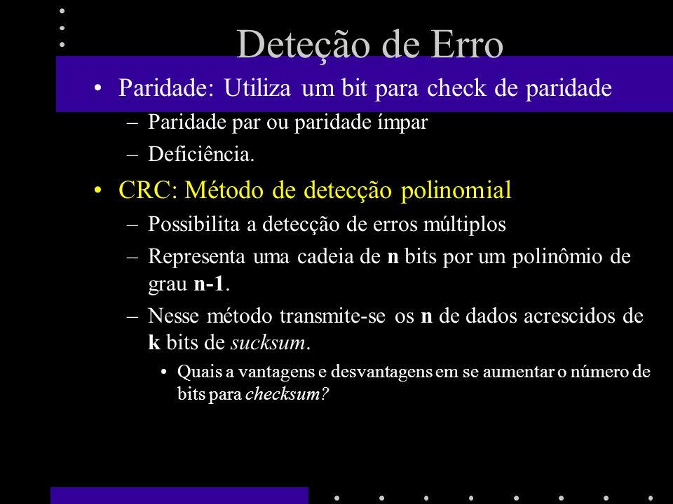 Deteção de Erro Paridade: Utiliza um bit para check de paridade