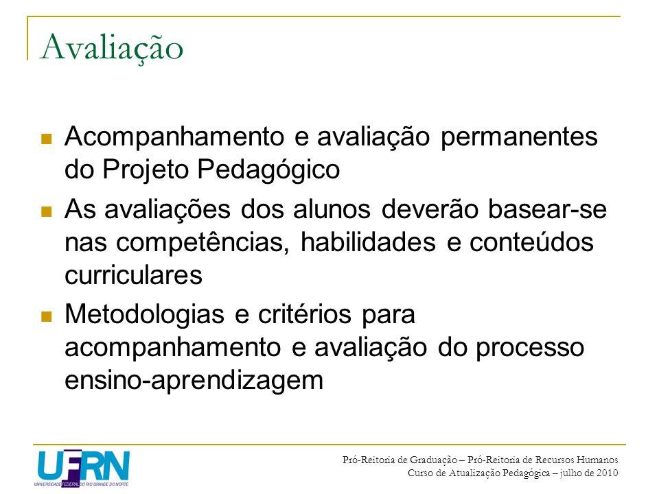 Avaliação Acompanhamento e avaliação permanentes do Projeto Pedagógico