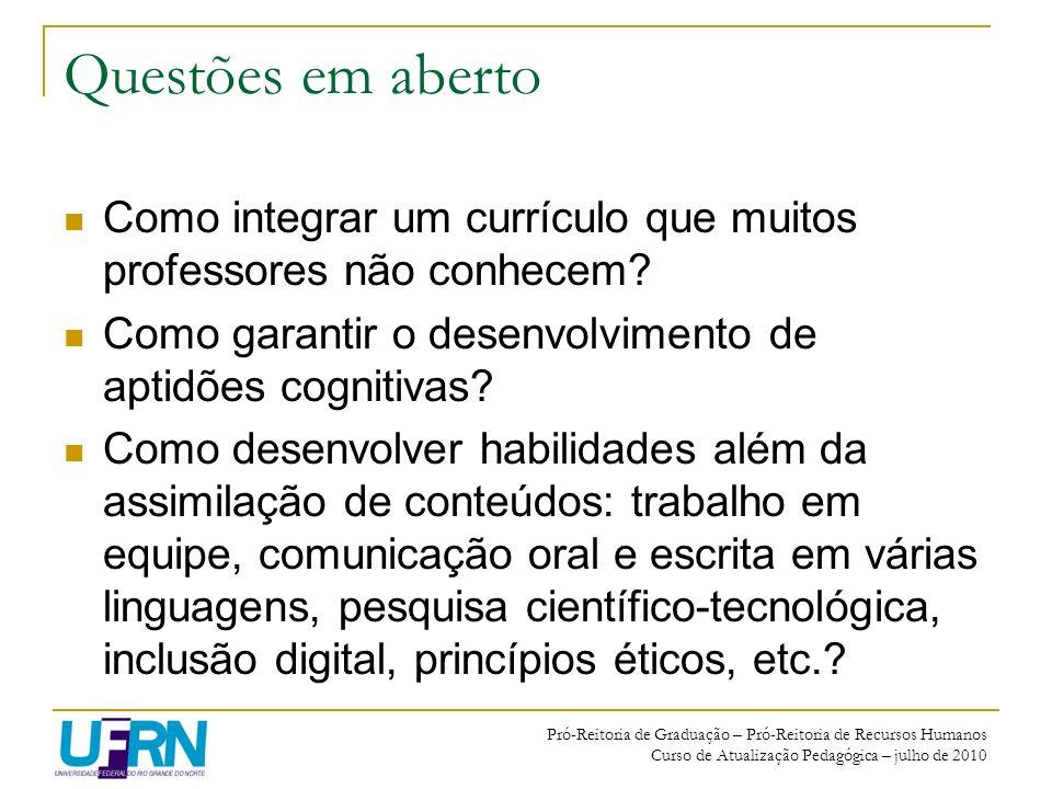 Questões em aberto Como integrar um currículo que muitos professores não conhecem Como garantir o desenvolvimento de aptidões cognitivas