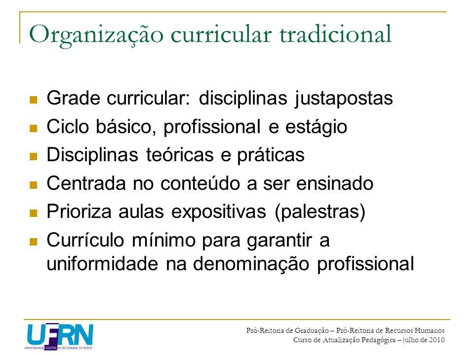 Organização curricular tradicional