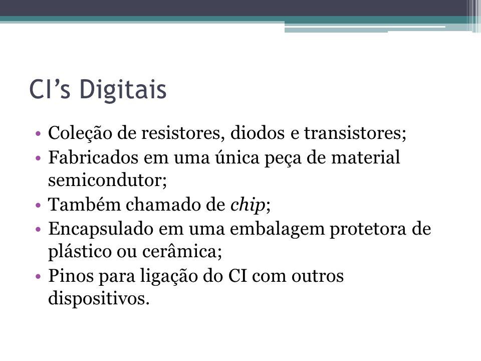 CI's Digitais Coleção de resistores, diodos e transistores;