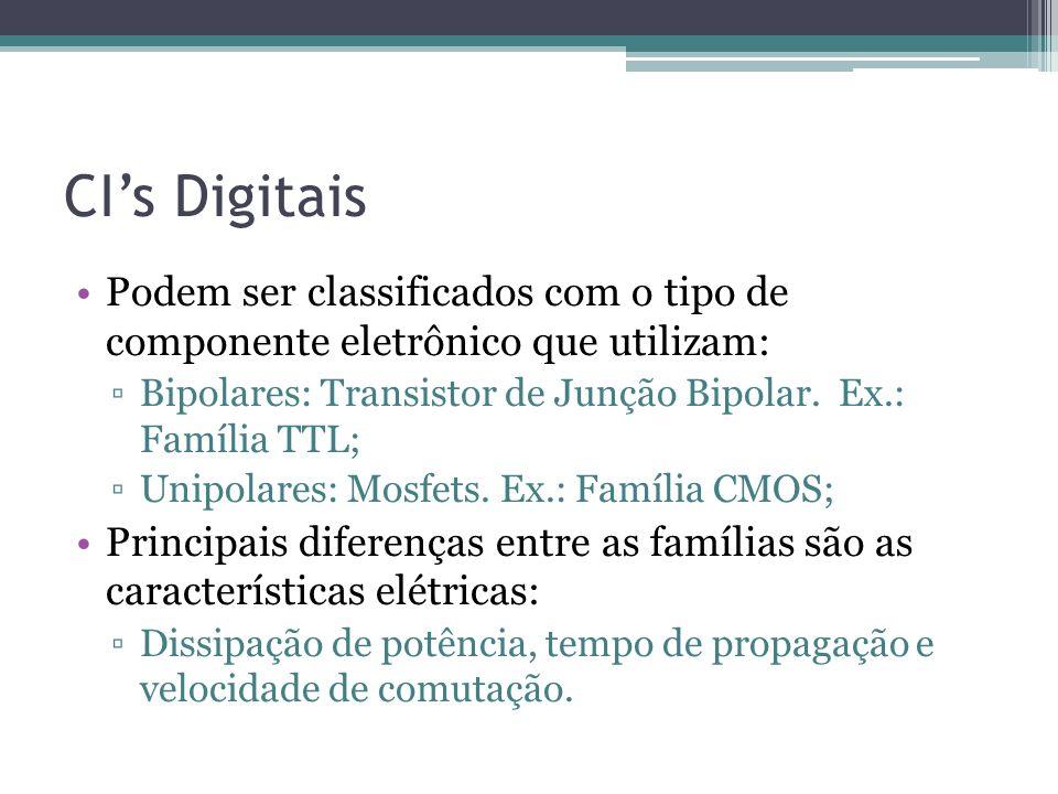 CI's DigitaisPodem ser classificados com o tipo de componente eletrônico que utilizam: Bipolares: Transistor de Junção Bipolar. Ex.: Família TTL;