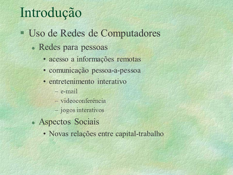 Introdução Uso de Redes de Computadores Redes para pessoas