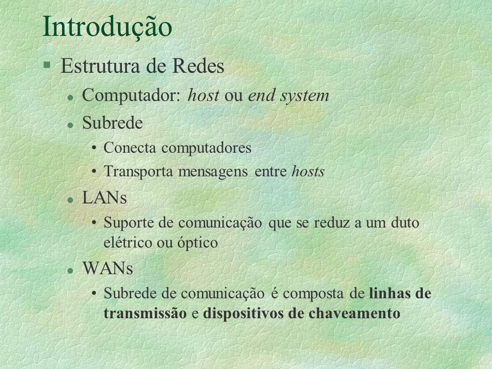 Introdução Estrutura de Redes Computador: host ou end system Subrede