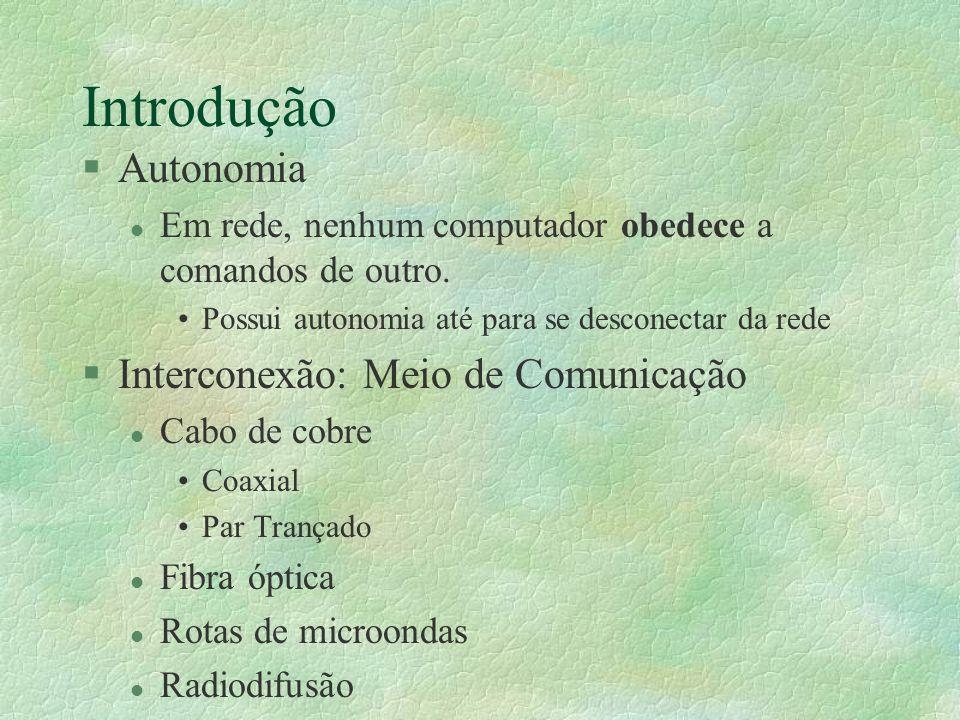 Introdução Autonomia Interconexão: Meio de Comunicação