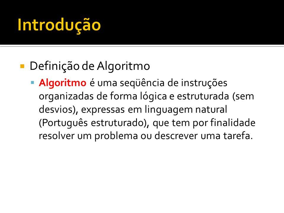 Introdução Definição de Algoritmo
