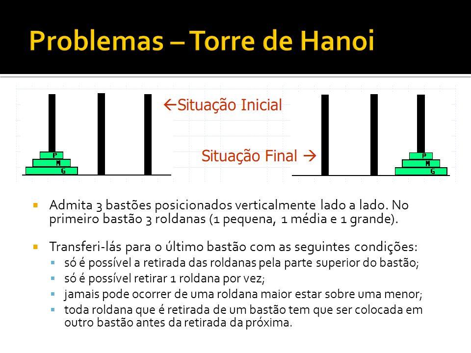 Problemas – Torre de Hanoi