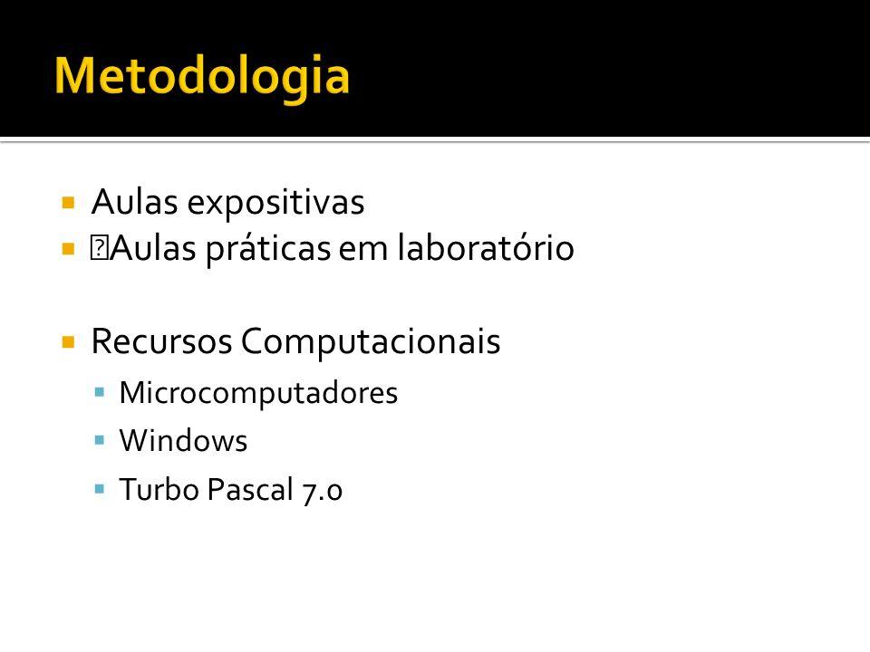 Metodologia Aulas expositivas ŠAulas práticas em laboratório