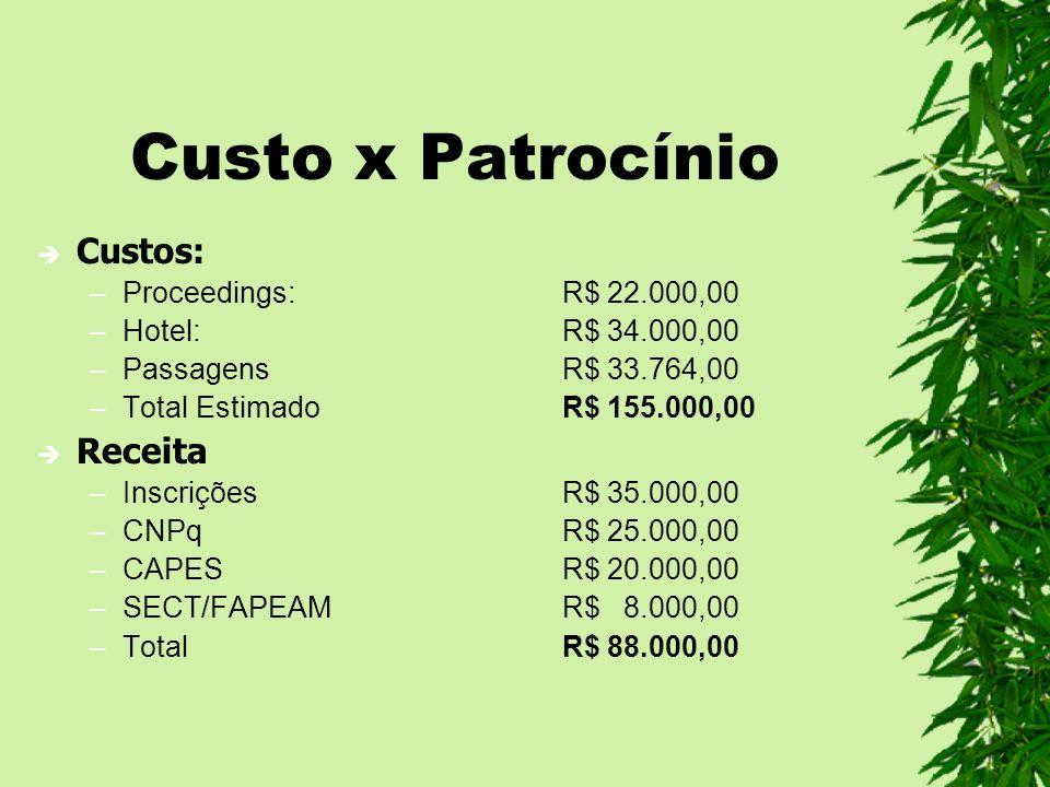 Custo x Patrocínio Custos: Receita Proceedings: R$ 22.000,00
