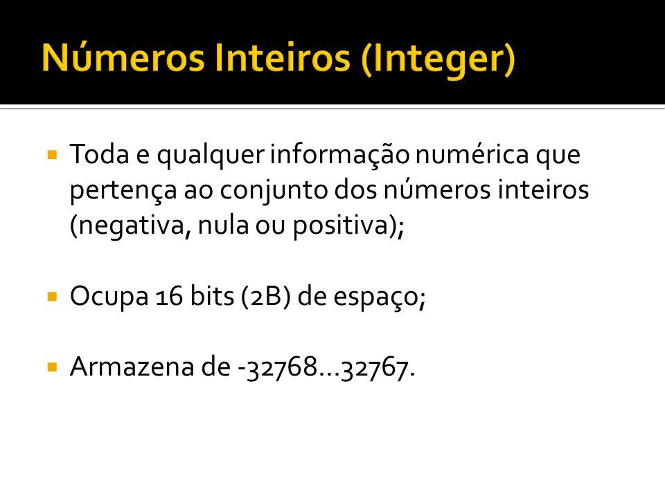 Números Inteiros (Integer)