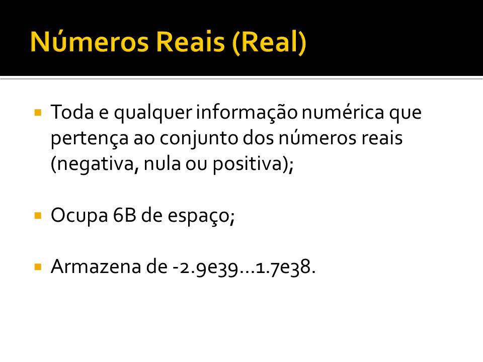 Números Reais (Real)Toda e qualquer informação numérica que pertença ao conjunto dos números reais (negativa, nula ou positiva);