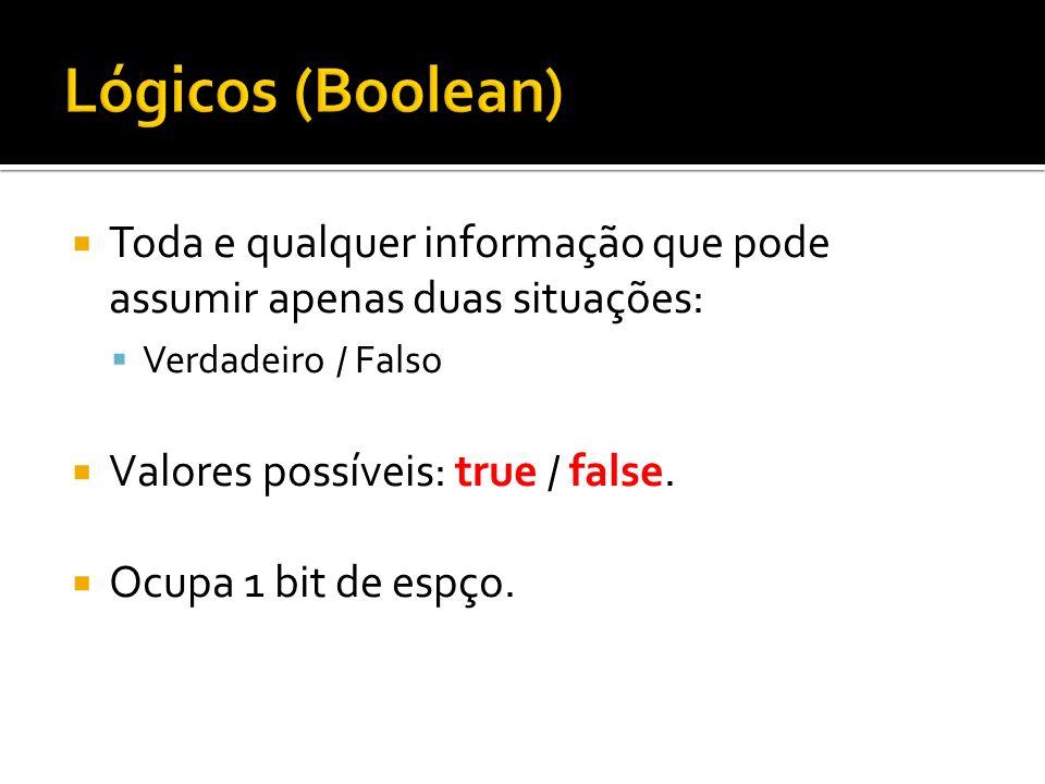 Lógicos (Boolean)Toda e qualquer informação que pode assumir apenas duas situações: Verdadeiro / Falso.