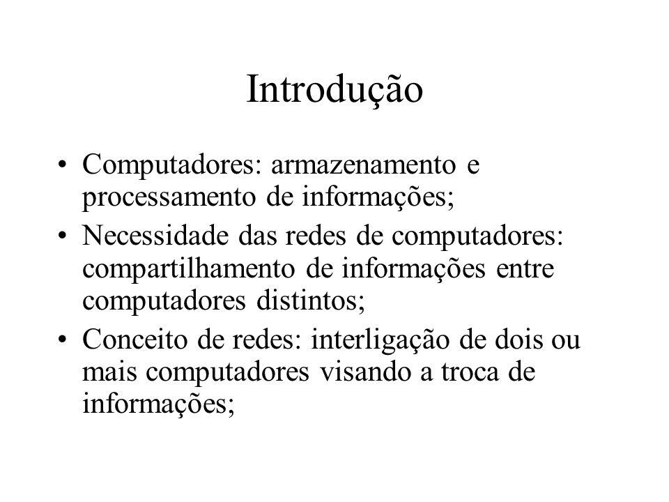 Introdução Computadores: armazenamento e processamento de informações;