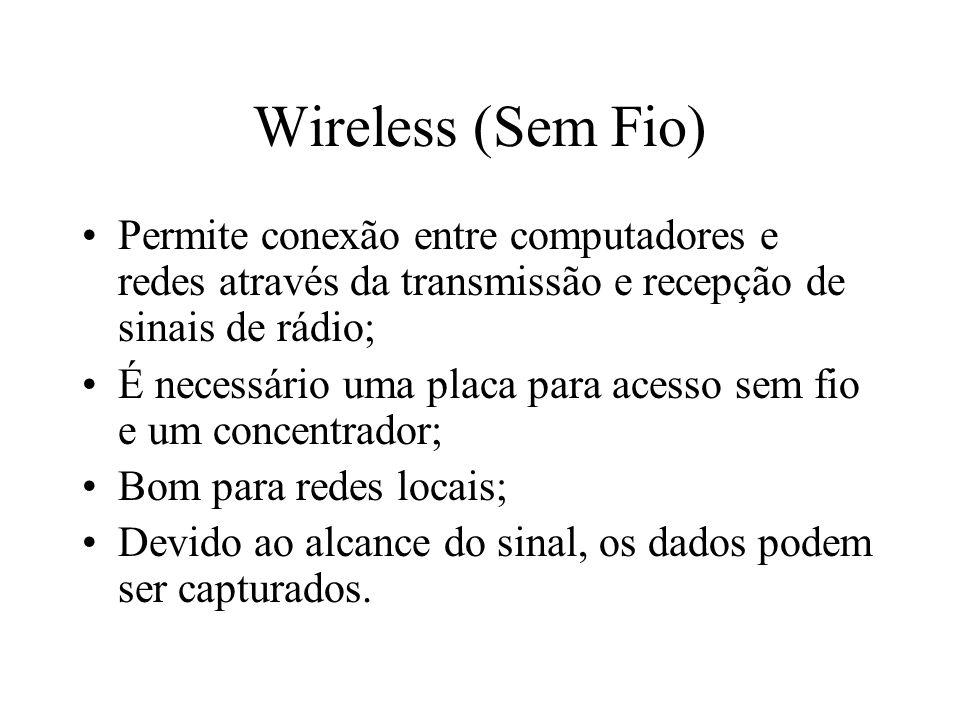 Wireless (Sem Fio) Permite conexão entre computadores e redes através da transmissão e recepção de sinais de rádio;