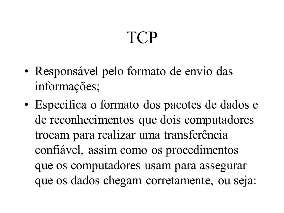 TCP Responsável pelo formato de envio das informações;
