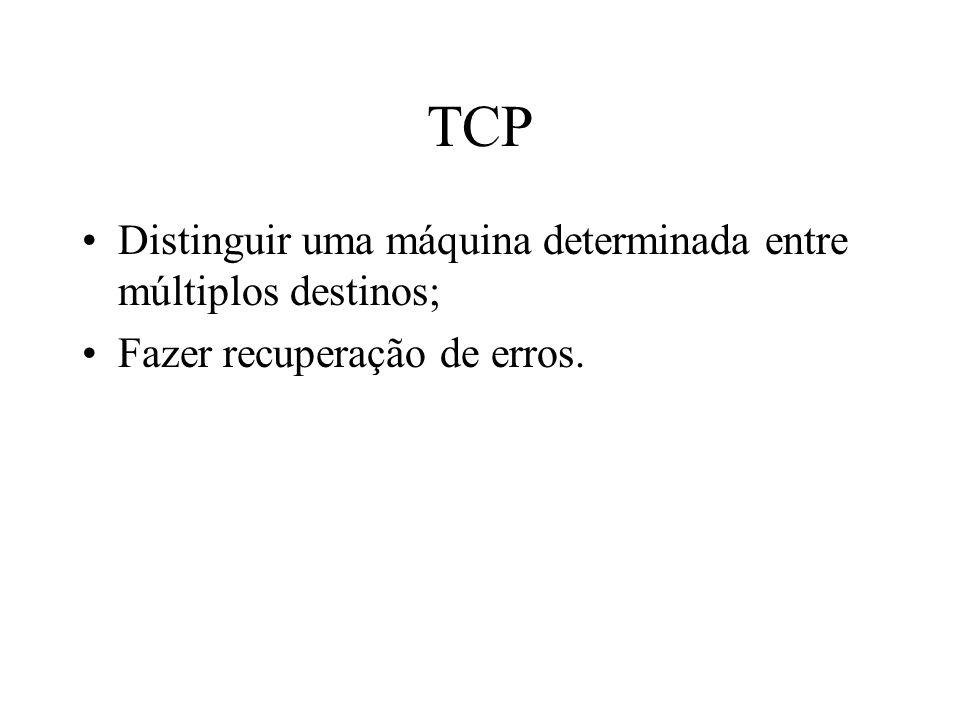 TCP Distinguir uma máquina determinada entre múltiplos destinos;