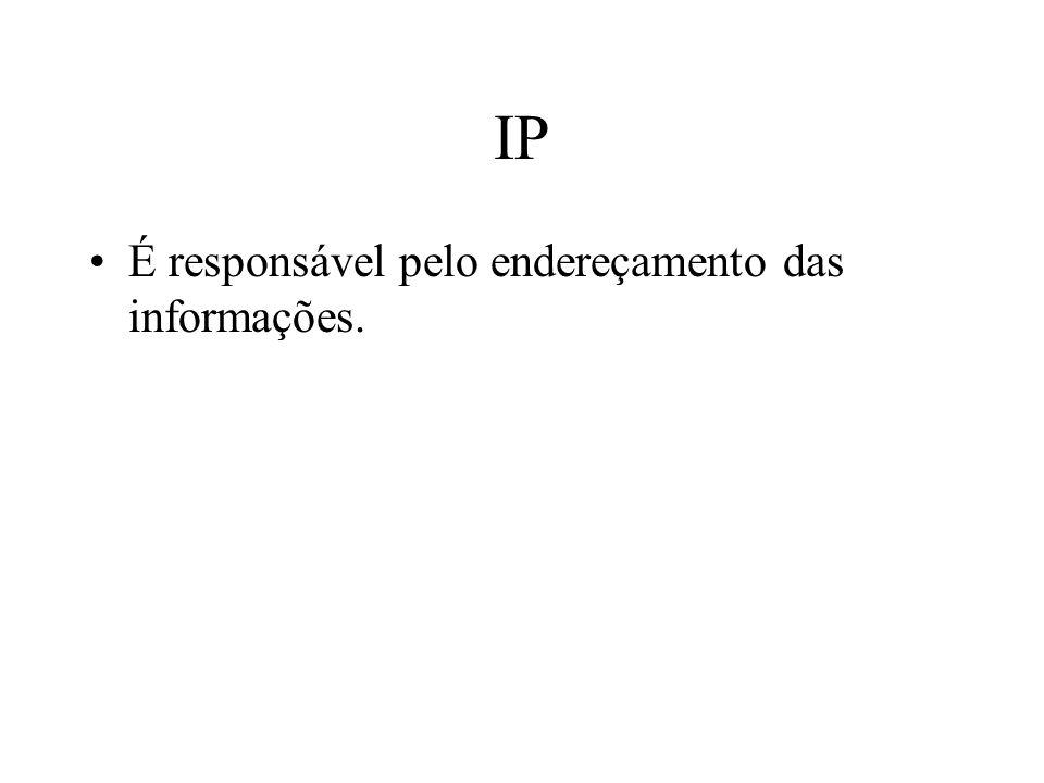 IP É responsável pelo endereçamento das informações.