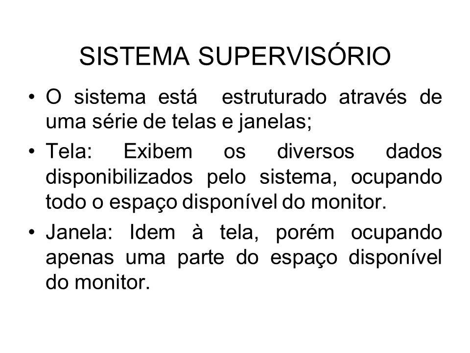 SISTEMA SUPERVISÓRIO O sistema está estruturado através de uma série de telas e janelas;