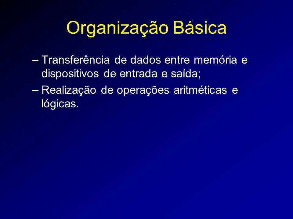 Organização Básica Transferência de dados entre memória e dispositivos de entrada e saída; Realização de operações aritméticas e lógicas.