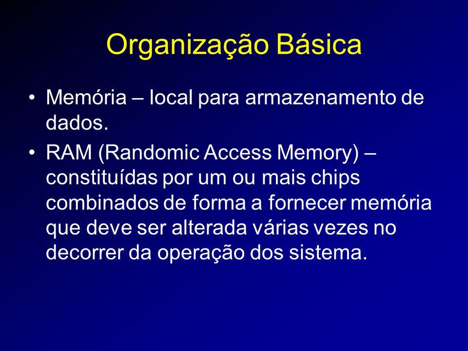 Organização Básica Memória – local para armazenamento de dados.
