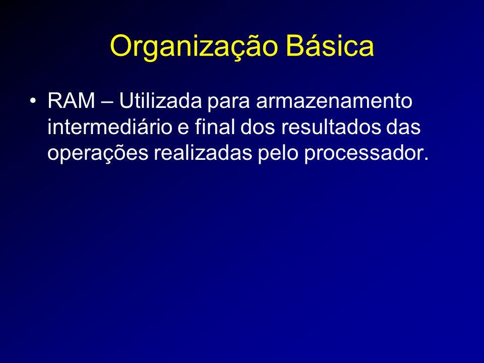 Organização Básica RAM – Utilizada para armazenamento intermediário e final dos resultados das operações realizadas pelo processador.