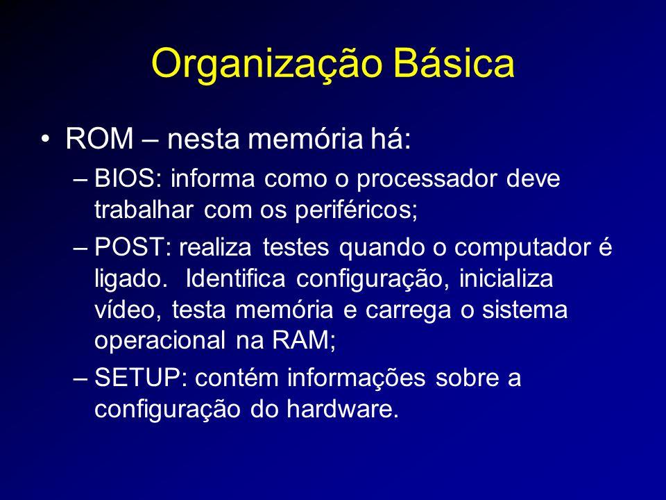 Organização Básica ROM – nesta memória há: