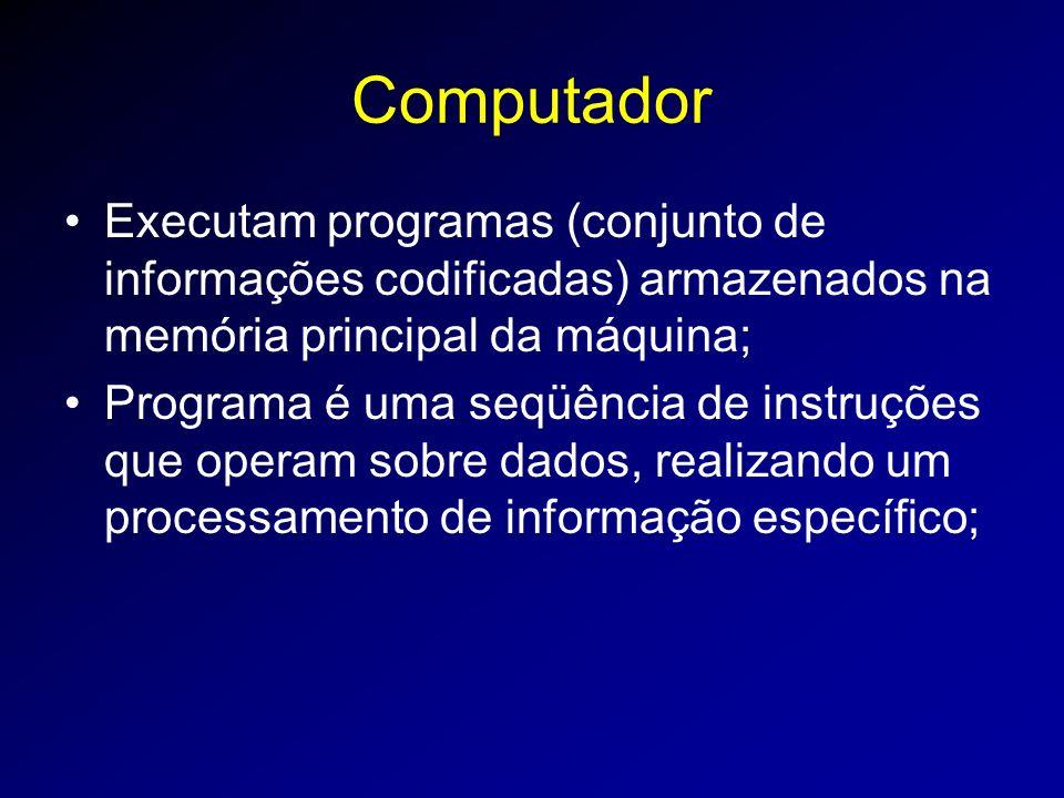 Computador Executam programas (conjunto de informações codificadas) armazenados na memória principal da máquina;